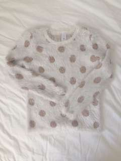 Fuzzy knit rose gold spot jumper