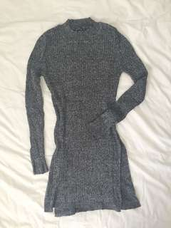 Grey split side tunic knit