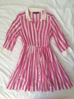 Topshop striped pleated shirt dress