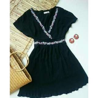 Black Shift Dress with Flowy Sleeves