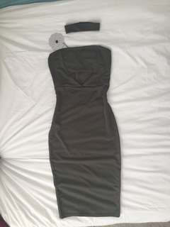 Strapless bodycon khaki dress with choker BNWT