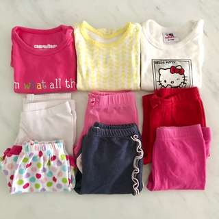 Bundle 9 pieces new and preloved baby girl clothes (3 to 9 months)