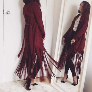 Suede effect fringed trench coat