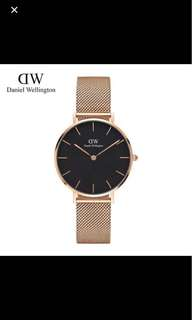 Daniel Wellington DW 32mm classic black petite stainless rose gold watch