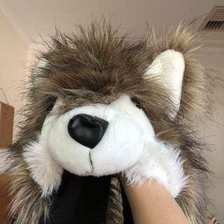 Wolf hat scarf
