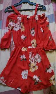 Red Floral Jump suit Fashion