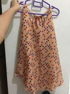 Haltered loose sleeveless polka dotted top