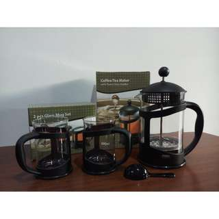 Coffee/Tea Maker 800 ml + Glass Mug Set