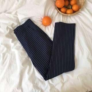 [PO] basic navy striped pants