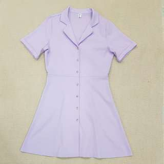 BN Made in Korea 100% Linen V Neck Collar Button Shirt Dress in Lilac Purple | One Size