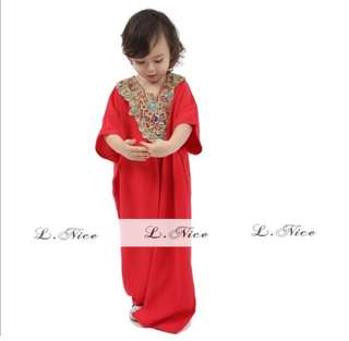 Baju muslim gamis anak import Exclussive Full Payet Brukat Red (merah)