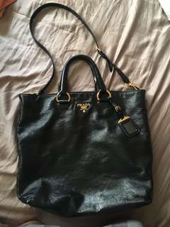 Authentic Prada Bag - Black Patent Leather