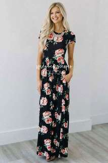Pink Floral Pocket Maxi Dress