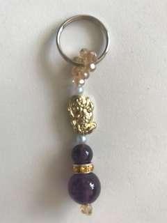 天然紫水晶钥匙扣