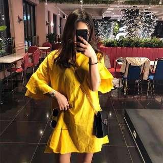 Korea Summer Cute Retro Ginger Sleeve Loose Doll Dress Cotton and linen dress