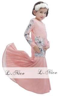 Baju muslim gamis anak import Mermaid Flower Soft Pink