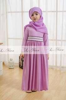 Baju muslim gamis anak import ungu + Jilbab