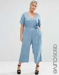 Denim Waisted String Plus Size Jumpsuit