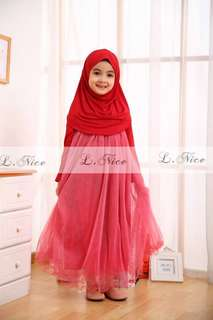 Baju muslim gamis anak import Long Dress Wave Red Pink