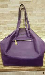 AUTHENTIC MIU MIU LARGE LEATHER TOTE BAG - COLOR: PURPLE