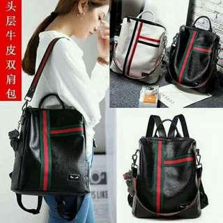 Leather backpack bag.