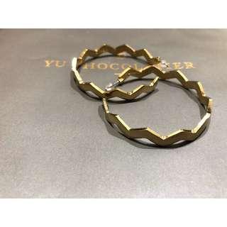 復古金色幾何大耳環 設計感 不撞款 誇張造型 耳圈  鋸齒 圈圈 圓圈 圓形