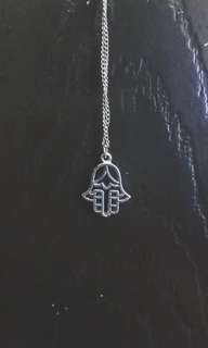 [USED] Silver Necklace - Hindu Hand Symbol Charm