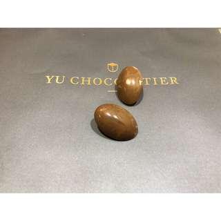 巧克力質感耳環 復古簡約 自然紋路 橢圓形 蛋型 立體 咖啡色 古著