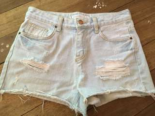 Ripped High waisted Denim Shorts(27)