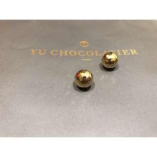 高爾夫球不規則面圓球耳環 金色 復古 設計款 好質感 大圓珠 防過敏 簡約氣質 極簡 cos風