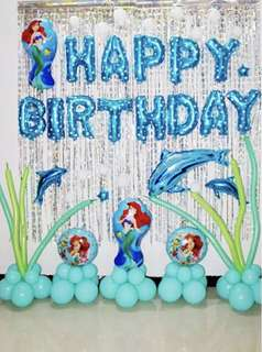 mermaid happy birthday balloons set