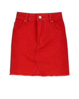 Red skirt, denim material