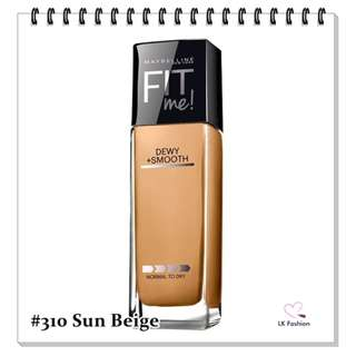 💕 Instock 💕 Maybelline Fit Me DEWY + Smooth Foundation 💋 #310 Sun Beige 💋