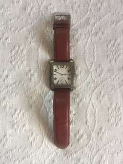 Zara square faced watch with brown leather strap