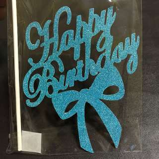 (Ins) Happy Birthday with ribbon cake Topper in blue