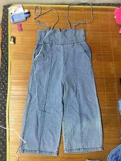 ✨僅穿一次 淺藍吊帶寬褲❤️