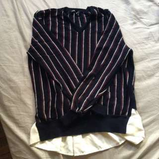 Indivi Long-Sleeves Striped Top