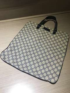 (二手正品)Gucci Coated leather tote bag Navy X Grey 塗層帆布手挽袋灰藍色