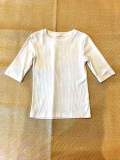 [女裝]GU 五分袖 棉質 短袖上衣 uniqlo