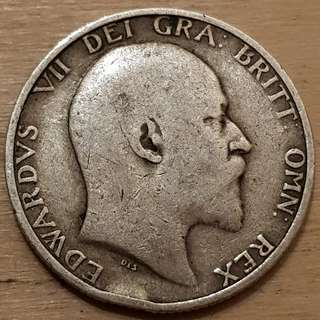 1910 Great Britain King Edward VII Silver Shilling