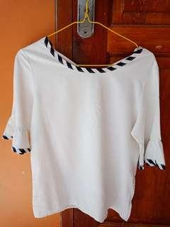 Blouse white stripe black