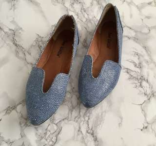 Blue leather Anthropologie flats