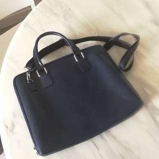Italian Bag Dark blue Vera Pelle True Leather  意大利真皮袋 公事包