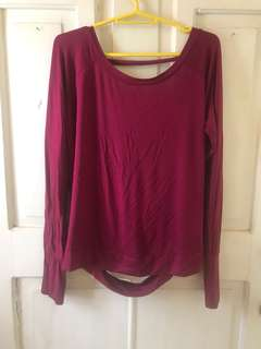 Backless cotton longsleeves sporty
