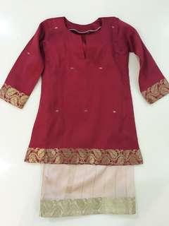 Maroon Red Saree Baju Kurung