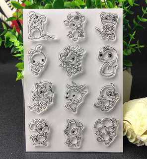 🌸 Chinese Zodiac Animals Clear Silicon Stamp Set
