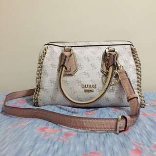 Guess confidential chain small frame satchel (White)