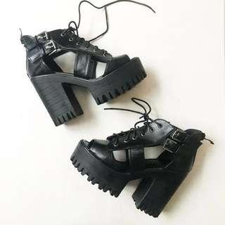 降⬇️黑色鋸齒厚底粗跟鞋 #一百元好物