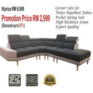 (Corner) Water Repellent Fabric Sofa Set ACS 11