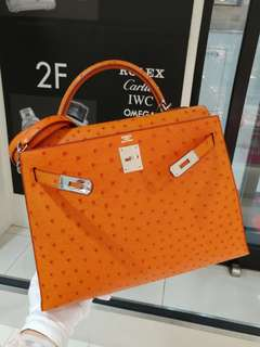 Hermes kelly 32 ostrich orange